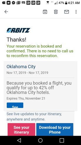 Booked for Hotel for November 17, 2019