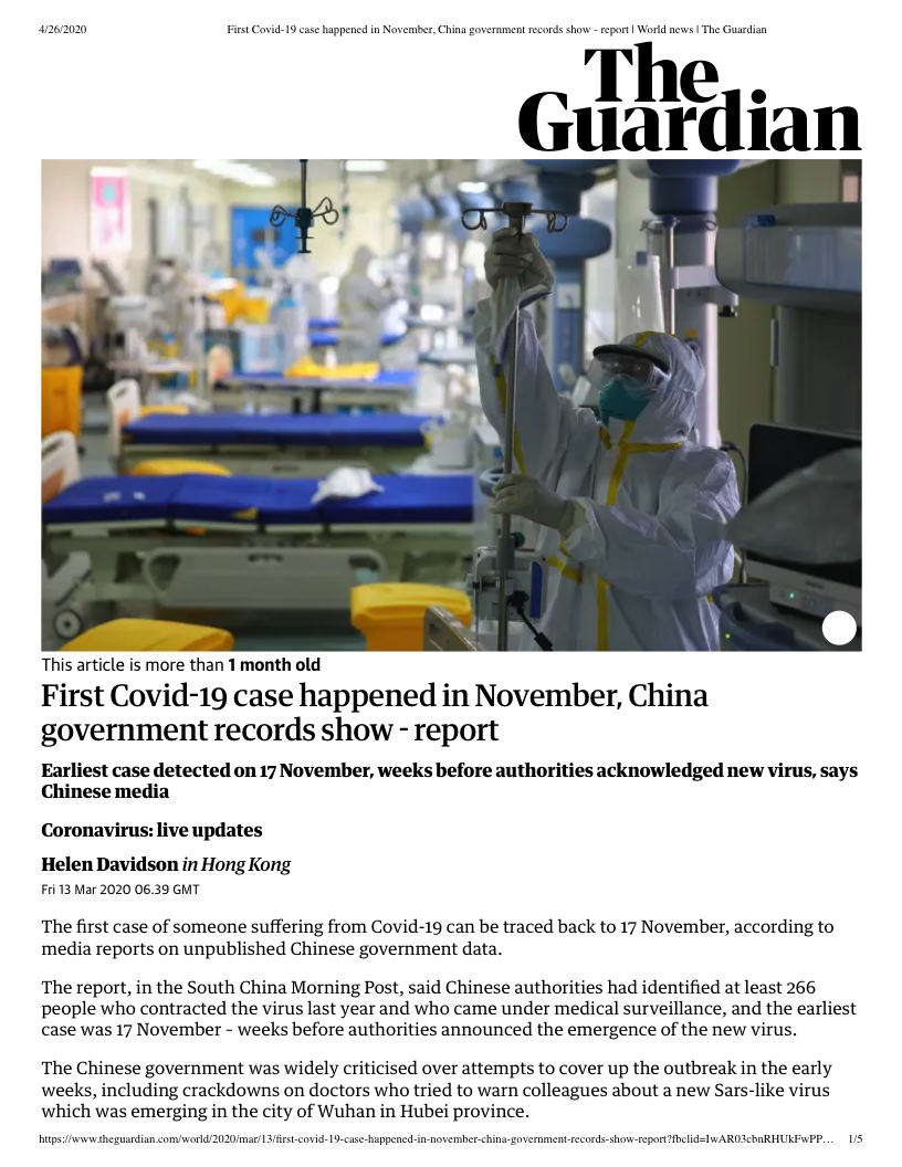 First Covid-19 case happened in November, China government records show - report _ World news _ The Guardian