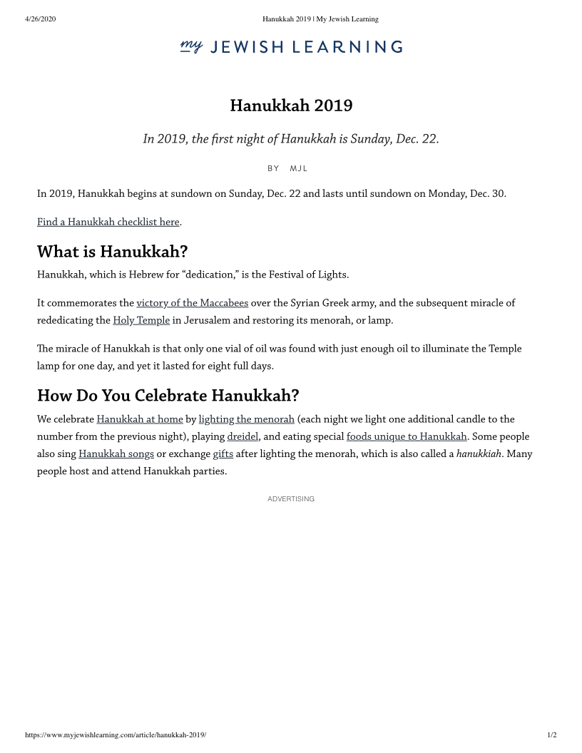 Hanukkah 2019 My Jewish Learning