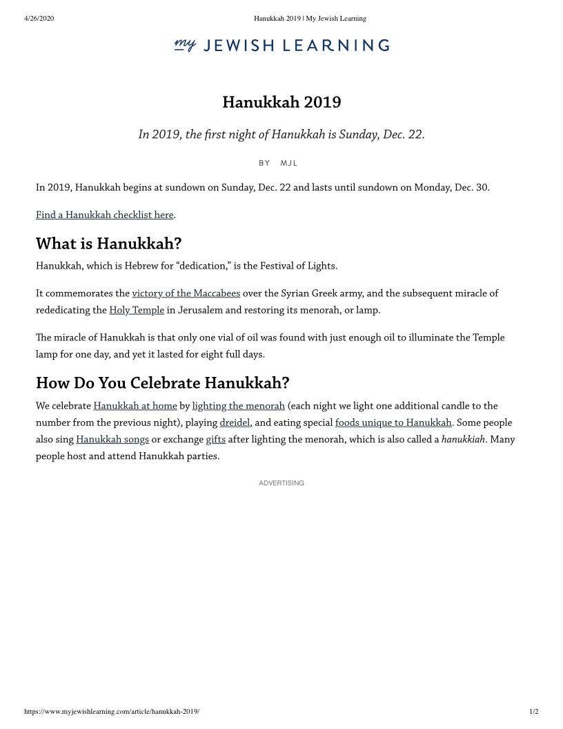 Hanukkah 2019 My Jewish Learning