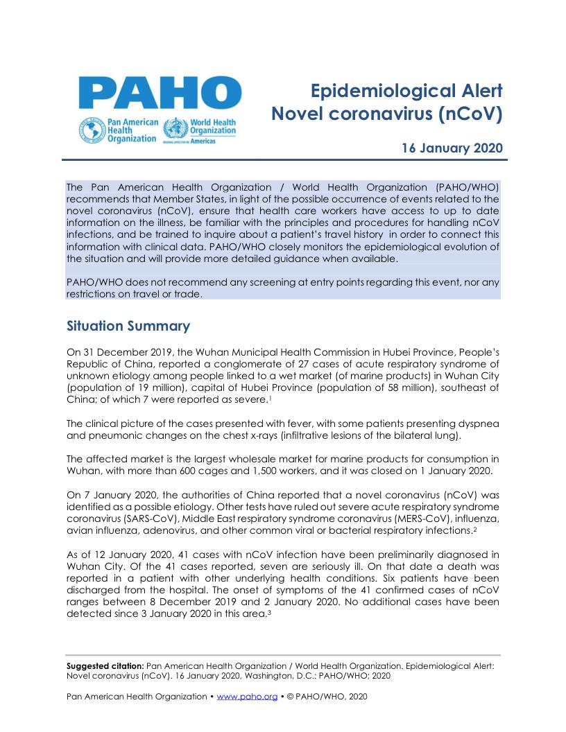 PAHO Alert January 16, 2020