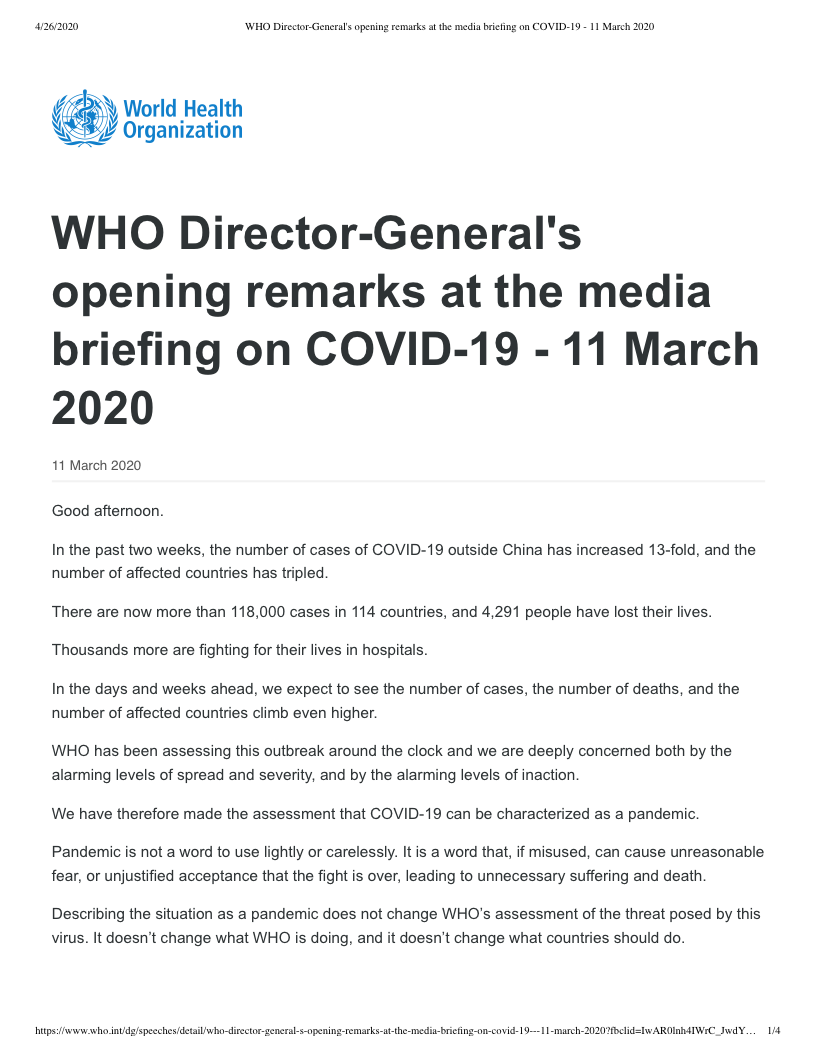 WHO Director-General's opening remarks at the media briefing on COVID-19 - 11 March 2020